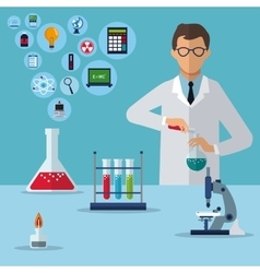 Medical scientist research experiment laboratory vector