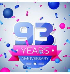 Ninety three years anniversary celebration on grey vector