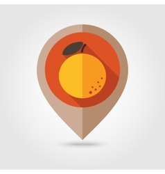 Orange flat mapping pin icon vector
