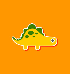 Paper sticker on stylish background dinosaur vector