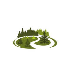 park green nature icon of forest tree landscape vector image