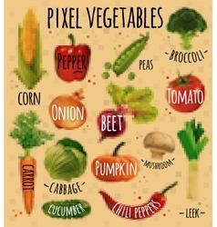 Pixel vegetables kraft vector image