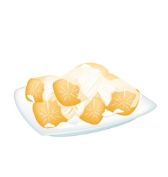 Potato in Coconut Milk on White Background vector image