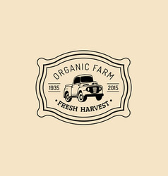 Retro farm fresh logotype organic quality vector