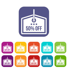 Sale tag 50 percent off icons set vector