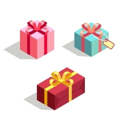 Set of gift box 3d isometric vector