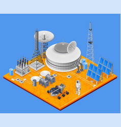 Space station isometric concept vector