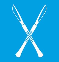 Surgeon scalpels icon white vector
