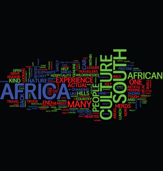 The cast of culture in south africa text vector