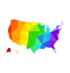 the lgbt flag in the form of a map of the united vector image vector image