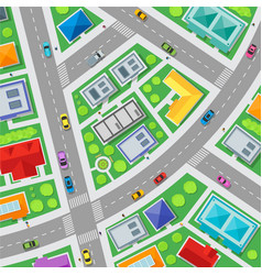 top view city streets map background vector image
