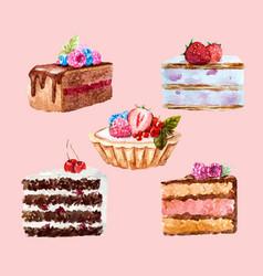 Watercolor dessert set vector