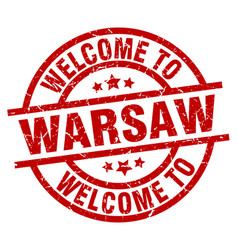 Welcome to warsaw red stamp vector