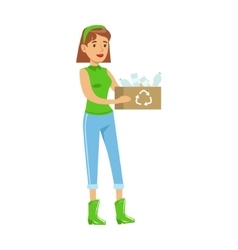 Woman carrying a crate with recyclable plastic vector