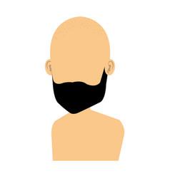 Young man bald shirtless avatar character vector