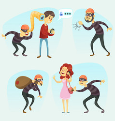 - funny comic thief in action vector image