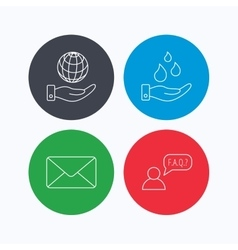Mail save water and faq speech bubble icons vector