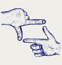 Hand symbol frame vector image