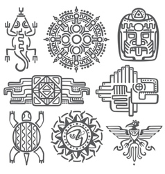 Ancient mexican mythology symbols american vector