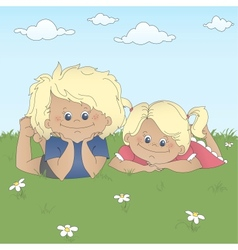 Children lying on a grass vector