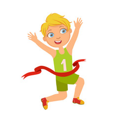 boy run to the finish line first a colorful vector image