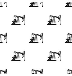 oil pumpjack icon in black style isolated on white vector image