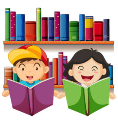 Boy and girl reading book in library vector