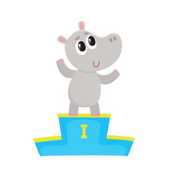 Cute hippo character champion standing on top of vector