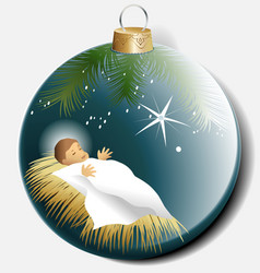 Christmas ball with baby jesus vector
