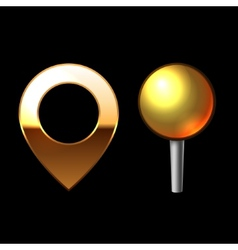 Gold mapping pins set metal round shape with color vector