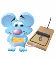 Mouse caught in trap vector