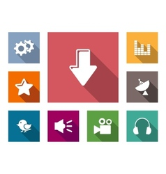 Flat media business and technology icons vector