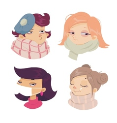 Cartoon face sickness cold symptoms of girl vector