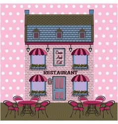 Restaurant facade background retro style vector