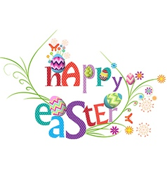 Happy easter floral greeting card vector