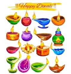 Happy diwali background coloful watercolor diya vector