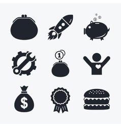 Money bag icons wallet and piggy bank symbols vector