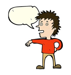 Cartoon man making dismissive gesture with speech vector