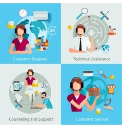 Customer support 4 flat icons square vector