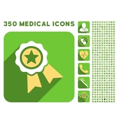 Star quality seal icon and medical longshadow icon vector