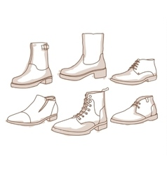 Monochrome line art boots with shading vector