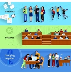 People at university horizontal banners vector