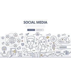 Social Media Doodle Concept vector image