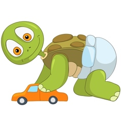 Funny turtle baby boy vector