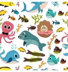 Cute seamless underwater texture design cartoon vector