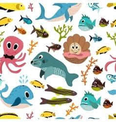 Cute seamless underwater texture design cartoon vector
