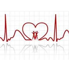abstract ecg with family vector image vector image