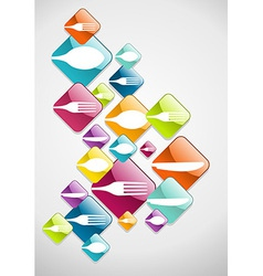 Arrow shaped food glossy icons background vector image vector image