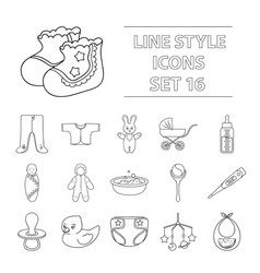 baby born set icons in outline style big vector image vector image