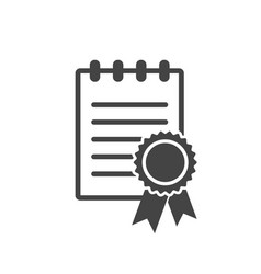 Certificate icon diploma symbol flat on white vector
